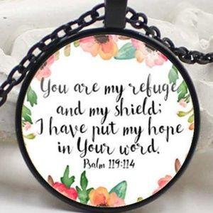 Necklace- NEW- Christian Psalm 119:114  Refuge